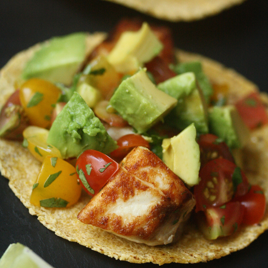 Striped Bass Fish Tacos with Heirloom Tomato Salsa and Avocado Recipe ...