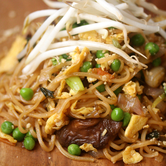Vegetable Pad Thai with Peas, Carrots and Mushrooms