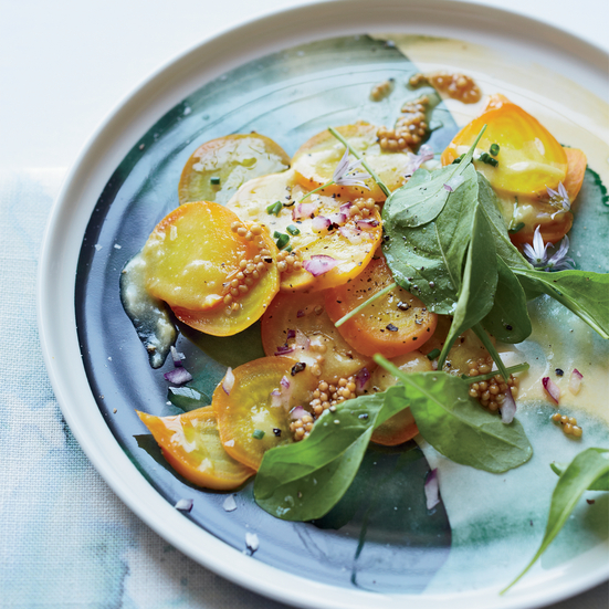 Golden Beet Carpaccio with Pickled Mustard Seeds