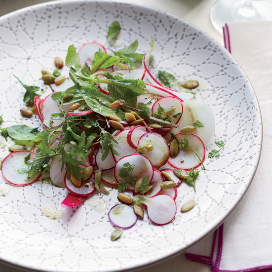 Radish Salad with Pumpkin Seeds and Pumpkin Oil