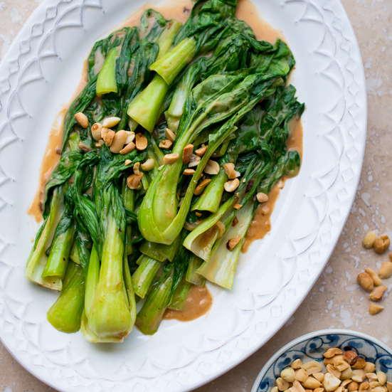 Stir Fried Bok Choy with Peanut Sauce