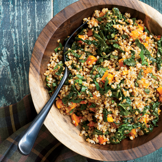 Wheat Berry Salad with Tuscan Kale and Butternut Squash