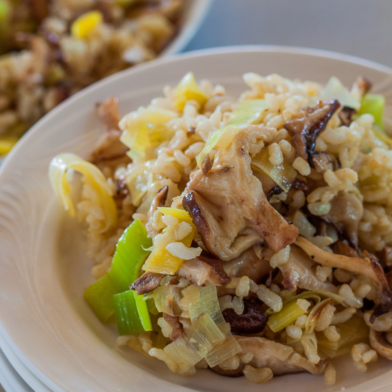 Brown Rice Pilaf with Leeks and Wild Mushrooms