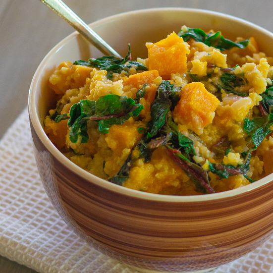 Millet with Butternut Squash and Swiss Chard