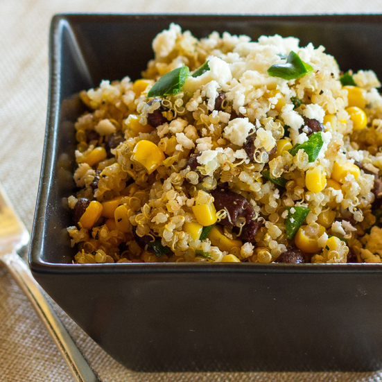 Southwestern Quinoa with Corn, Black Beans, and Poblano
