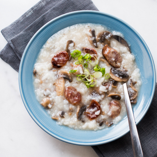 Chinese Sausage and Mushroom Congee