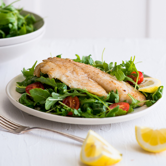 Pan Seared Tilapia Salad with Lemon-Garlic Vinaigrette
