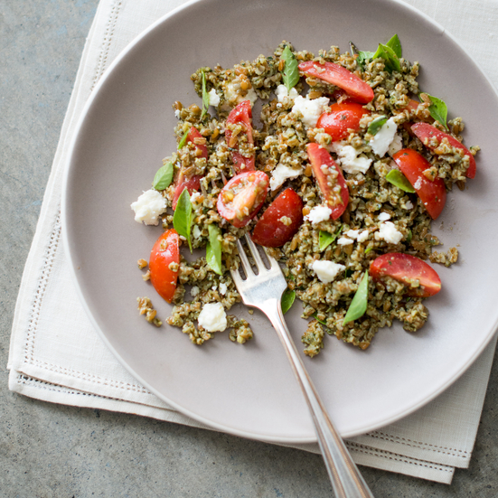 Pesto Bulgur Salad with Tomatoes, Basil, and Feta