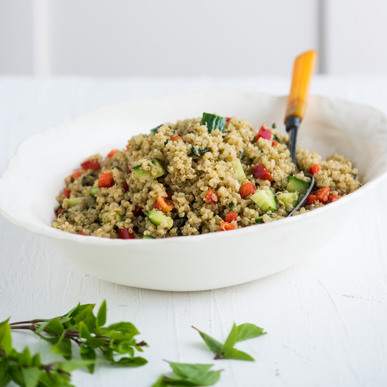 Pesto Quinoa Salad with Bell Pepper and Cucumbers Recipe - Todd Porter ...