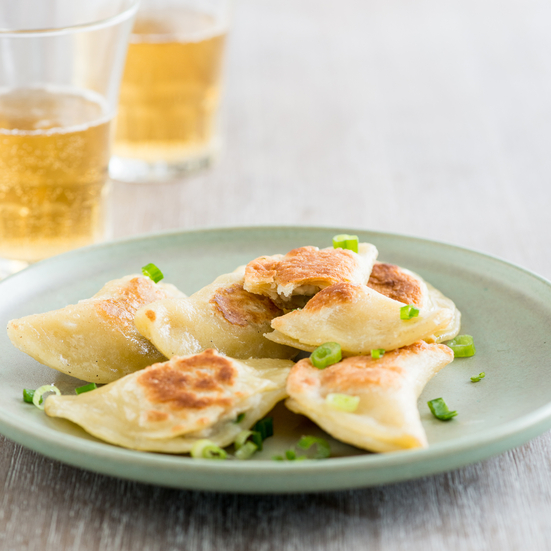 Seared Garlic Chicken Pierogi