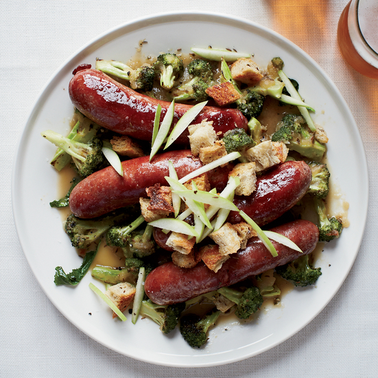 Smoked Pork Sausage with Hard-Cider Sauce