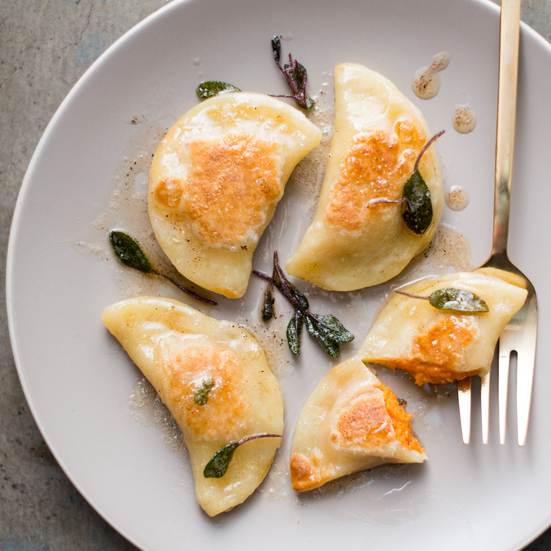 Sweet Potato Pierogi with a Sage Brown Butter Sauce