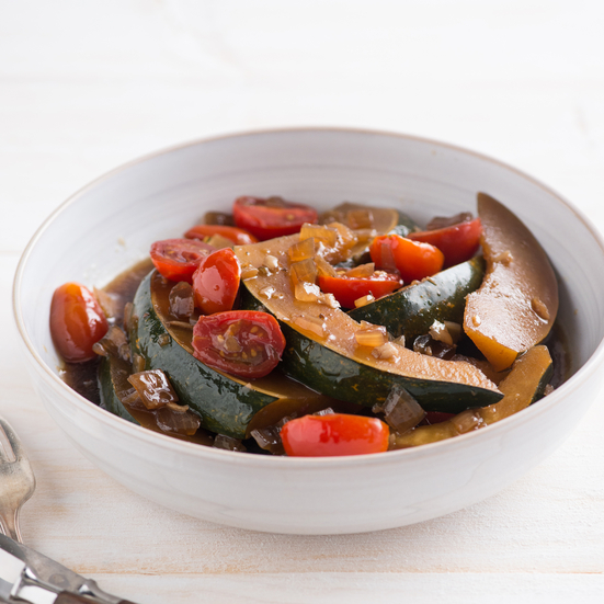 Sweet Soy-Stewed Acorn Squash with Cherry Tomatoes