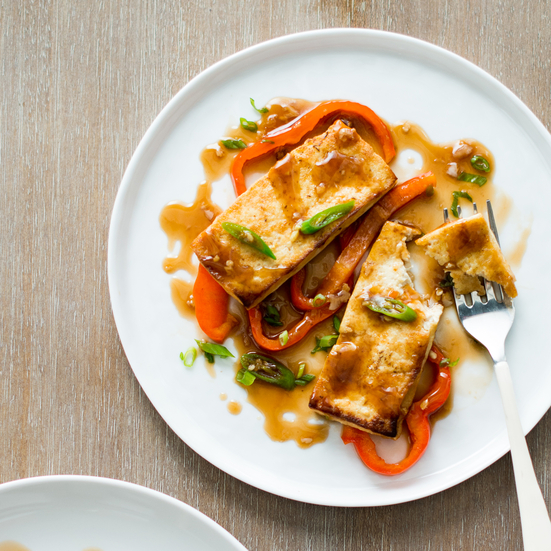 Tofu with Bell Peppers and Spicy Oyster Sauce Recipe - Todd Porter and ...