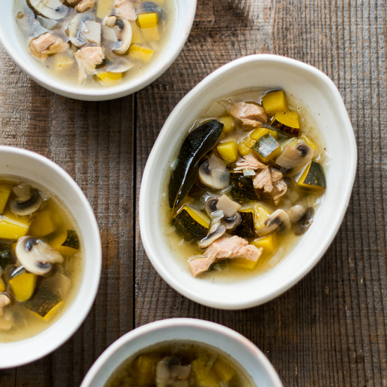 Winter Acorn Squash, Turkey and Mushroom Soup