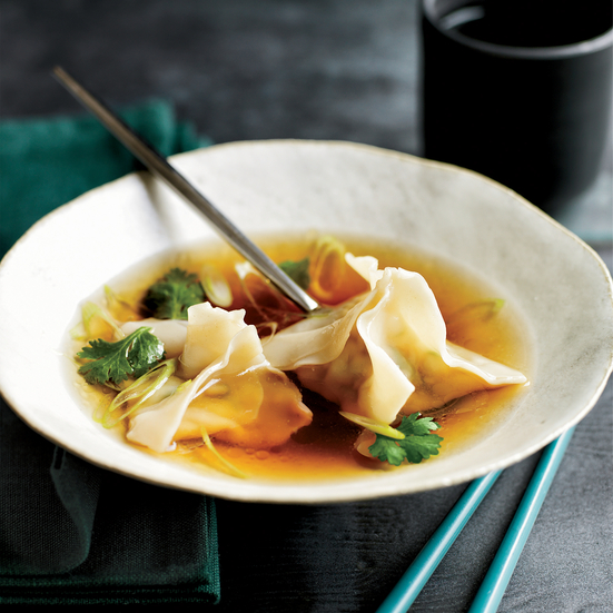 Chicken-and-Shrimp Wonton Soup with Lemongrass Broth