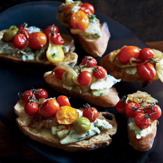 Stilton and Burst Cherry Tomato Crostini