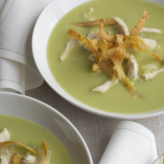 Chicken-and-Avocado Soup with Fried Tortillas