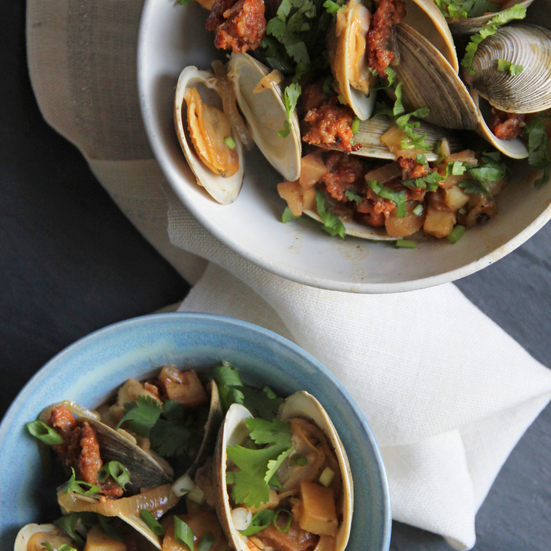 Portuguese Clams with Potatoes and Chorizo