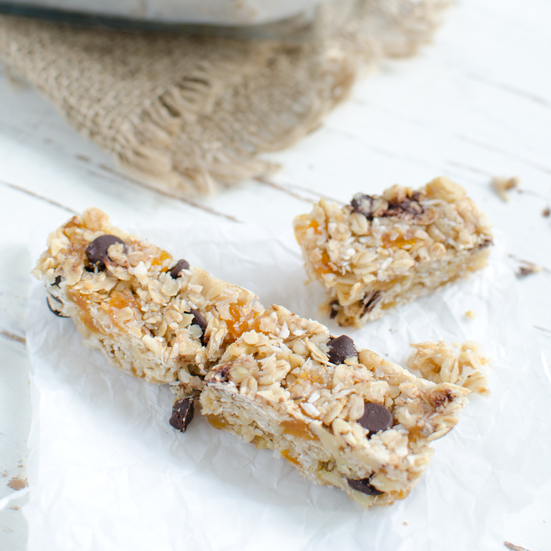 Coconut Flour Granola Bars with Walnuts and Dried Apricots