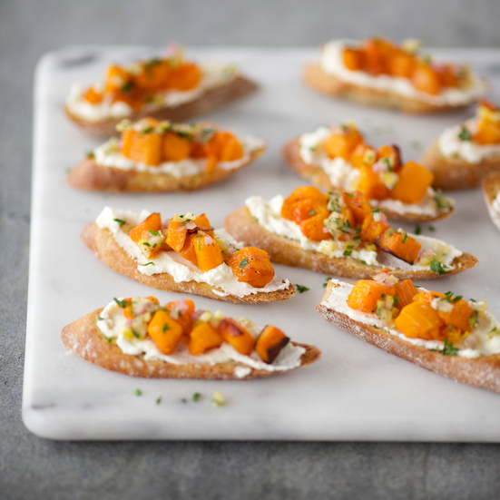 Crostini with Roasted Butternut Squash, Ricotta and Preserved Lemon