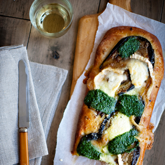 Eggplant, Pesto, and Goat-Cheese Pizza