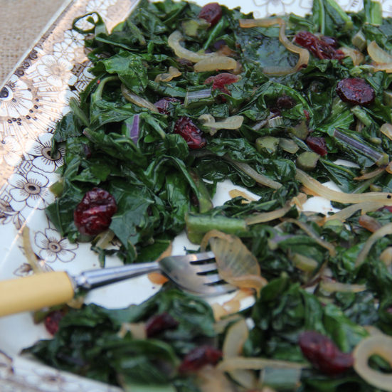 Sauteed Kale with Cranberries