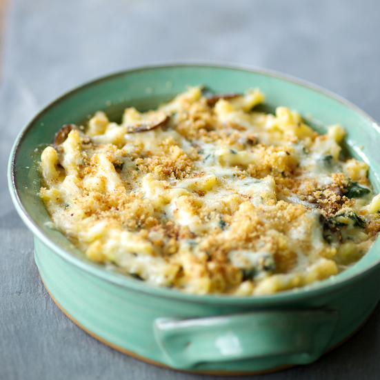 Macaroni and Swiss with Spinach and Mushrooms