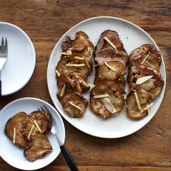 Marinated Eggplant with Rice Vinegar, Ginger and Garlic