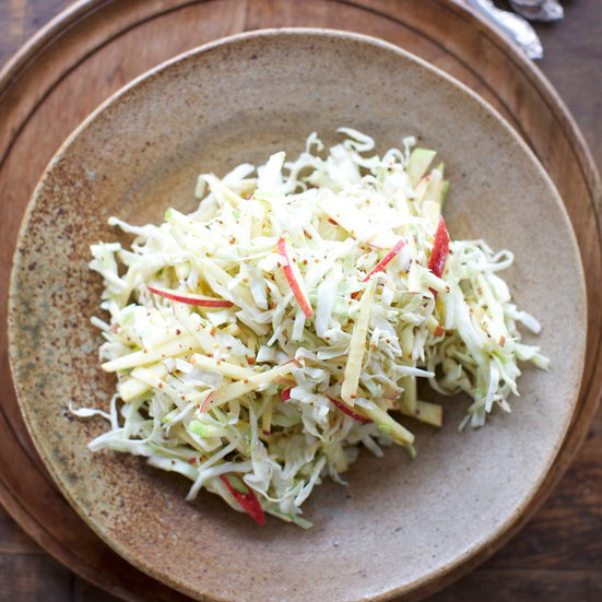 Mustardy Cabbage and Apple Slaw