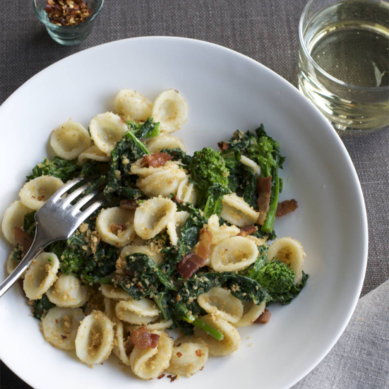 Orecchiette with Broccoli Rabe, Bacon, and Bread Crumbs