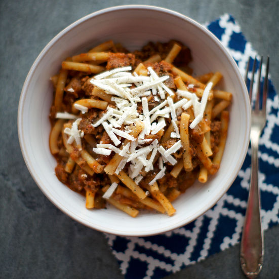 Pasta with Eggplant, Spiced Lamb and Ricotta Salata