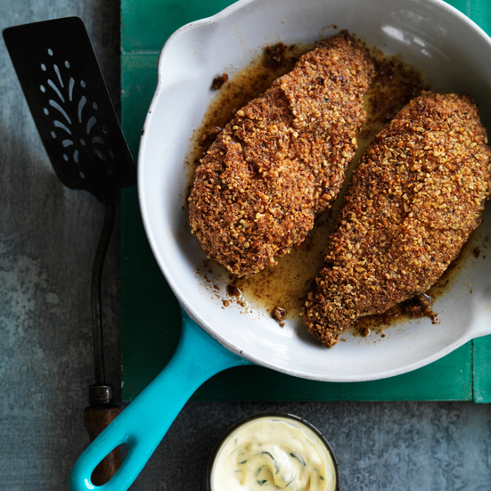 Pecan-Crusted Chicken with Mustard Sauce