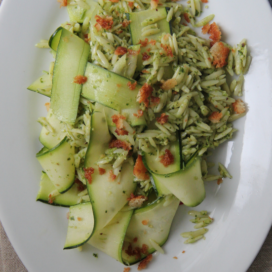 Pesto Orzo with Zucchini Ribbons and Bread Crumbs