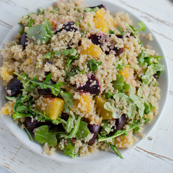 Quinoa Salad with Oranges, Roasted Beets and Arugula
