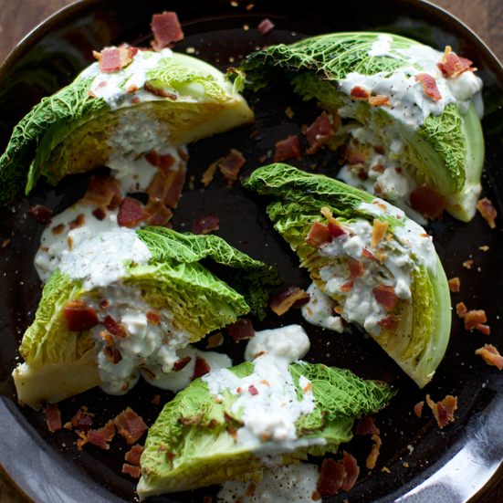 Roasted Cabbage Wedges with Bacon and Blue Cheese