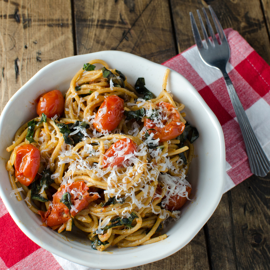 Slow-Roasted Tomatoes and Garlic with Basil Whole-Wheat Pasta and Parmesan