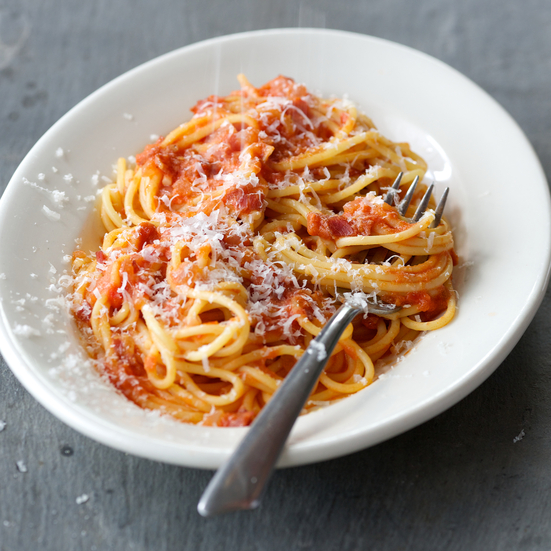 Spaghetti with Proscuitto, Tomatoes and Cream