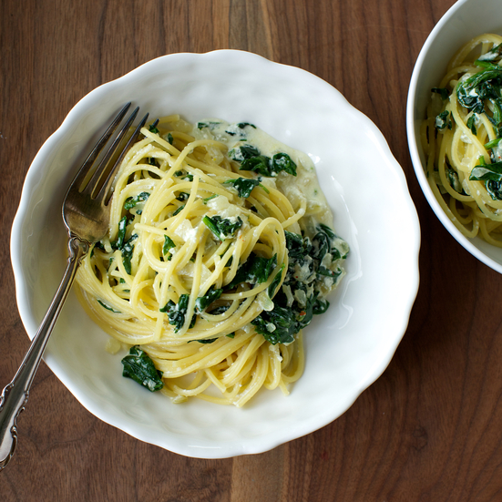 Spaghetti with Spinach and Ricotta