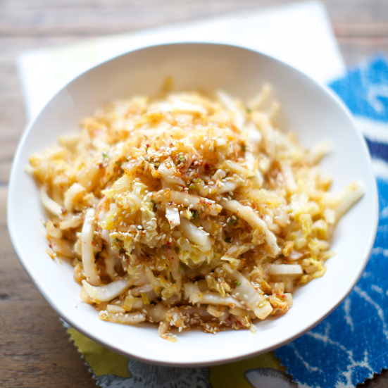 Stir-Fried Napa Cabbage with Spicy Garlic Dressing