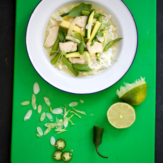 Thai Green Curry Chicken with Zucchini and Green Beans
