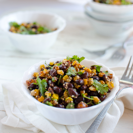 Toasted Quinoa with Roasted Corn, Black Beans and a Chili-Lime Dressing