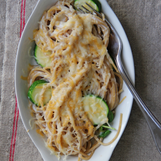 Whole Wheat Spaghetti and Zucchini Mac and Cheese