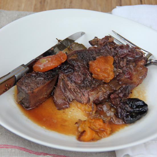 Wine and Dried Fruit Short Ribs