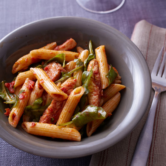 Penne with Turkey, Arugula, and Sun-Dried-Tomato Vinaigrette