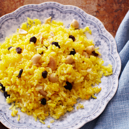 Saffron Rice with Cashews and Raisins