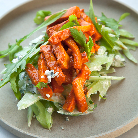 Buffalo Butternut Squash Matchsticks with a Blue Cheese Celery Salad
