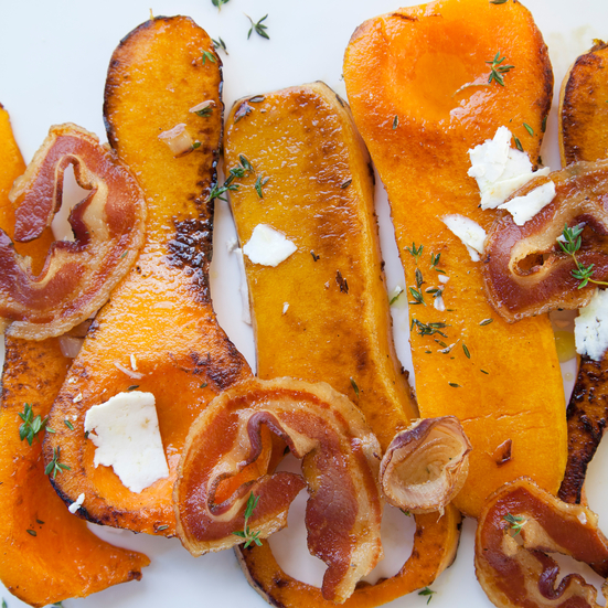 Butternut Squash with Crispy Pancetta, Shallots, and Ricotta Salata