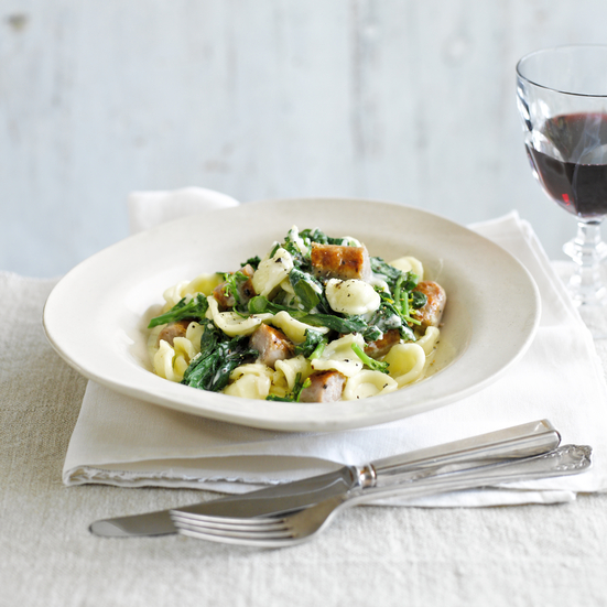 Creamy Orecchiette with Broccoli Rabe & Sausage