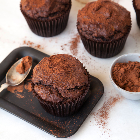 Gluten-Free Cocoa and Banana-Hazelnut Muffins